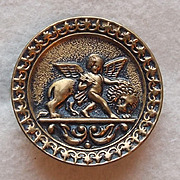 Antique CUPID & LION Estate Picture Story Button