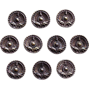 SALE Victorian Buttons Set of 10 Antique Small Picture Buttons