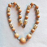 Art Deco Celluloid Carved Bead Vintage Estate Necklace