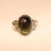 Fabulous TIGER EYE Vintage Natural Stone Sterling Ring