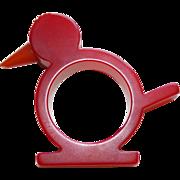 SOLD Vintage Red Bakelite Figural Bird Carved Estate Napkin Ring Holder