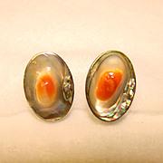 SALE Gorgeous STERLING & BLISTER SHELL Vintage Estate Earrings
