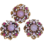 SOLD Gorgeous Czech Pink Glass & Rhinestone Filigree Vintage Estate Buttons - Red Tag Sale Ite