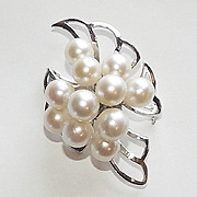 Fabulous Large Akoya Pearl & Sterling Silver Vintage Estate Pin Brooch