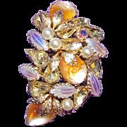 Fabulous POURED GLASS ROSE Rhinestone & Carnival Vintage Estate Pin Brooch