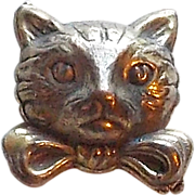 SOLD Awesome Cat Face Dimensional Vintage Estate Picture Button