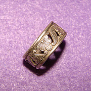 Fabulous Vintage STERLING SILVER Openwork Patterned Wide Band Ring