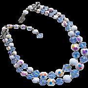 Fabulous BLUE CRYSTAL & Aurora Milkglass 2 Strand Vintage Estate Necklace