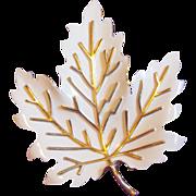 Fabulous TRIFARI Signed White Enamel Maple Leaf Vintage Estate Pin Brooch