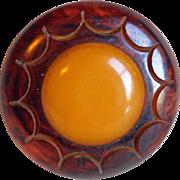 SOLD Large Carved Bakelite Egg Yolk Amber & Brown Vintage Estate Button