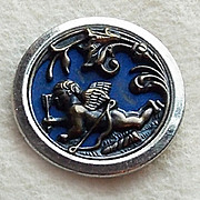 Antique CUPID IN FLIGHT Estate Picture Story Button