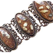 Fabulous CONFETTI LUCITE Huge Runway Very Wide Vintage Estate Bracelet