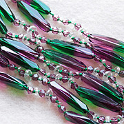 SOLD Fabulous SUFFRAGETTE Antique Purple & Green Glass Beads Estate Necklace