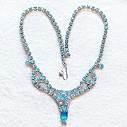 Gorgeous AQUA RHINESTONE Vintage Estate Choker Necklace