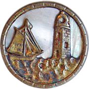 SOLD Tiny Antique SHIP & LIGHTHOUSE Picture Story Estate Button