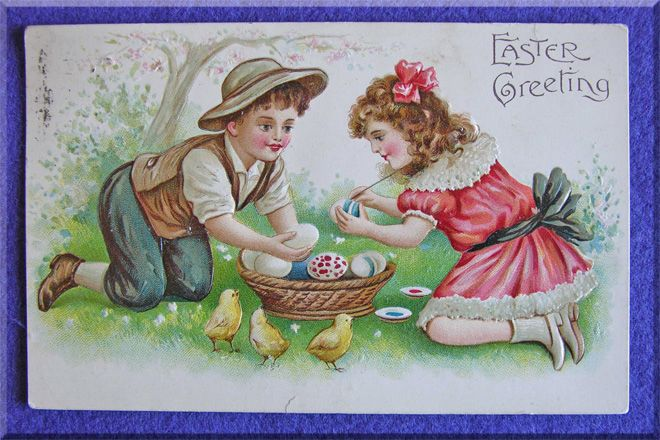 Children Painting EASTER EGGS Antique Postcard - Germany