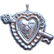 Fabulous REED & BARTON Sterling Vintage HEART & KEY Christmas Ornament