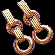 Awesome MONET Signed Vintage Estate Long Dangle Clip Earrings