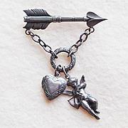 CUPID ARROW & HEART Locket Charm Dangle Vintage Estate Pin Brooch