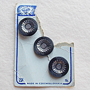 Gorgeous CZECH Black Glass Vintage Estate Buttons