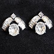 Fabulous PENNINO Signed Rhinestone Vintage Estate Clip Earrings