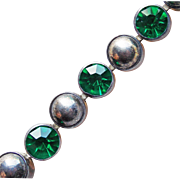 Fabulous ART DECO Bezel Set GREEN RHINESTONE Vintage Estate Line Bracelet