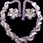 Fabulous ART Signed Rhinestone Vintage Estate Necklace & Earrings Set