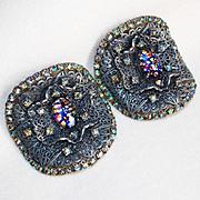 Fabulous MUSI Signed Foil Glass & Rhinestone Vintage Shoe Buckles