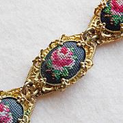 Gorgeous PETIT POINT Vintage Estate Bracelet