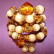Fabulous AMBER GLASS & RHINESTONE Four Row Vintage Estate Coil Bracelet