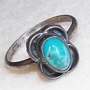 Tiny STERLING & TURQUOISE Vintage Estate Pinky Ring