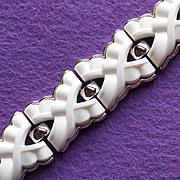 Fabulous TRIFARI Signed Thermoset Special Stones Vintage Estate Wide Bracelet