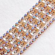 Fabuous CORO Signed Aurora Rhinestone 7 Chain Strand Vintage Bracelet