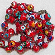 Fabulous MILLEFIORI GLASS Red Beads Italian Vintage Estate Necklace