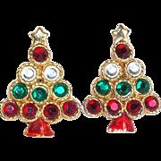 Fabulous CHRISTMAS TREE Rhinestone & Enamel Vintage Estate Earrings