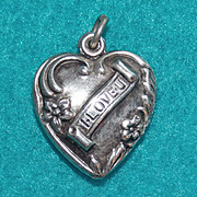 Gorgeous STERLING PUFFY HEART Vintage Estate I Love U Charm