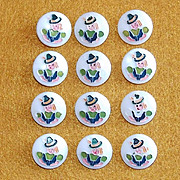 Vintage Glass PILGRIM GIRL Estate Buttons