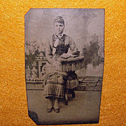 Antique Tintype Photo LADY with Fancy FRINGED CHAIR
