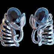 Fabulous DANECRAFT STERLING & Hematite Stones Signed Vintage Estate Earrings