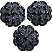 SOLD Antique French Jet Black Glass Large Estate Victorian Buttons