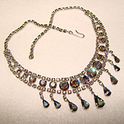 Fabulous Vintage SMOKE AURORA RHINESTONE Dangle Necklace