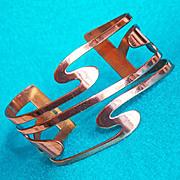 Fabulous RENOIR Signed Copper Modernist Wave Vintage Estate Bracelet