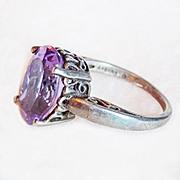 Fabulous KABANA Signed Sterling & Amethyst Vintage Ring