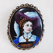 Fabulous Victorian Porcelain Lady in Hat Antique Pin Brooch