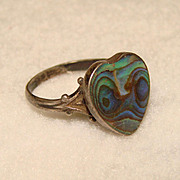 SALE Gorgeous Vintage Sterling &  Opalescent Abalone HEART Shaped Ring