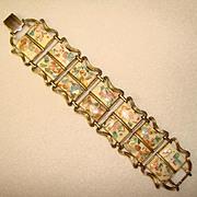 Fabulous CORO Vintage Confetti Lucite Stones Double Row Bracelet