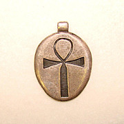 Awesome Sterling Silver ANKH Signed Vintage Estate Pendant