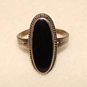 Gorgeous STERLING & BLACK ONYX Vintage Elongated Stone Estate Ring