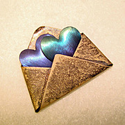 Fabulous 1980's STERLING & TITANIUM Signed Love Note Brooch