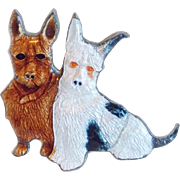 Awesome Antique ENAMEL Dog Friends Pin Brooch